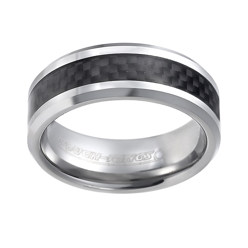 Tungsten wedding bands - beveled edges polished tungsten ring with delicate carbon fiber inlay - 8mm