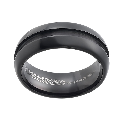 Tungsten wedding bands - black oxidized polished ring with a centered engraving - 8mm