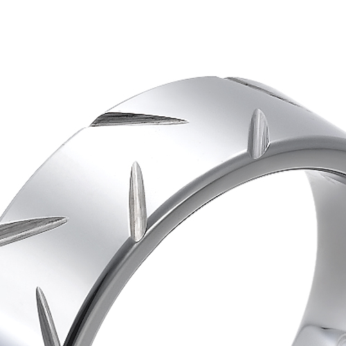Tungsten wedding bands - polished tungsten ring with wheel like design - 8mm