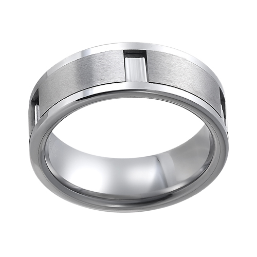 Tungsten wedding bands - polished tungsten ring with brushed tungsten plates inlay - 8mm
