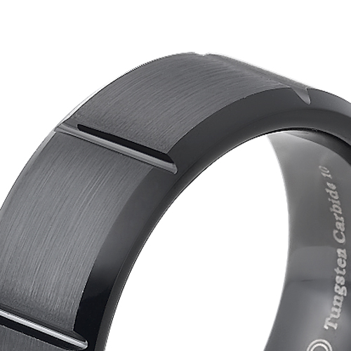 Tungsten wedding bands - brushed black oxidized tungsten ring with engraved trims - 8mm