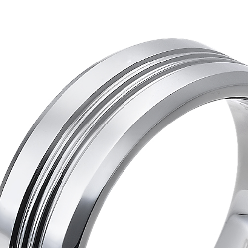 Tungsten wedding bands - polished tungsten ring with centered engraving - 9mm