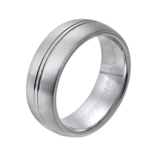 Tungsten wedding bands - brushed tungsten ring with centered trims - 8mm
