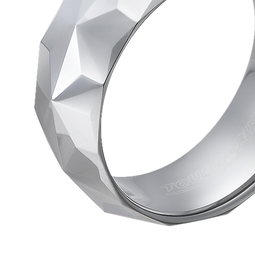 Tungsten wedding bands - polished star shaped diamond cut tungsten ring - 8mm