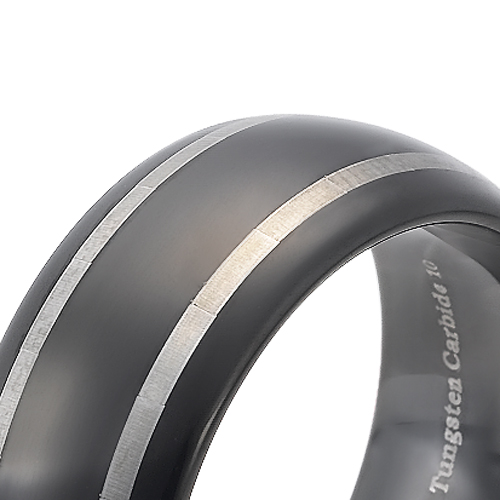 Tungsten wedding bands - black oxidized tungsten ring with two stripes trim and rounded edges - 8mm