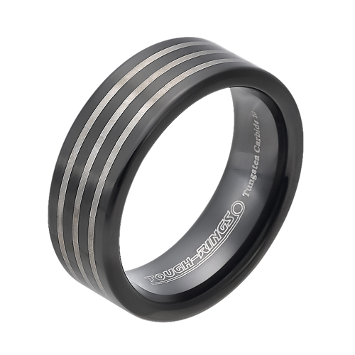 Tungsten wedding bands - black oxidized tungsten ring with three stripes trim - 8mm