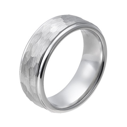 Tungsten wedding bands - hammered tungsten ring with polished sides - 8mm
