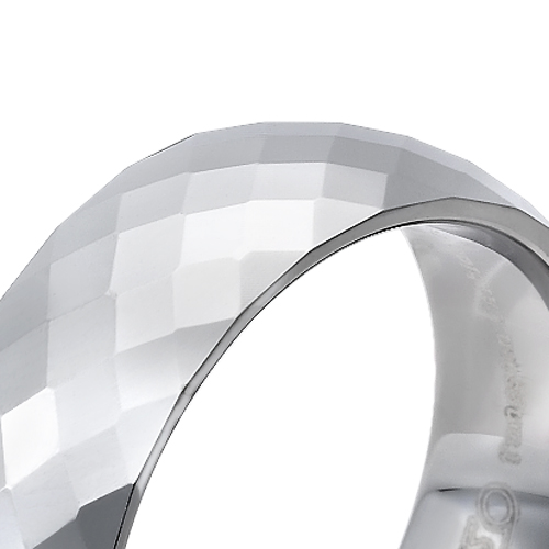 Tungsten wedding bands - polished diamond cut faceted tungsten ring - 8mm