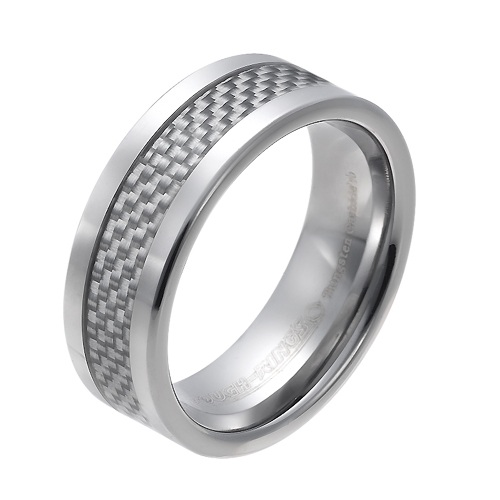 Tungsten wedding bands - polished tungsten ring with inner inlay of grey carbon fibers - 8mm