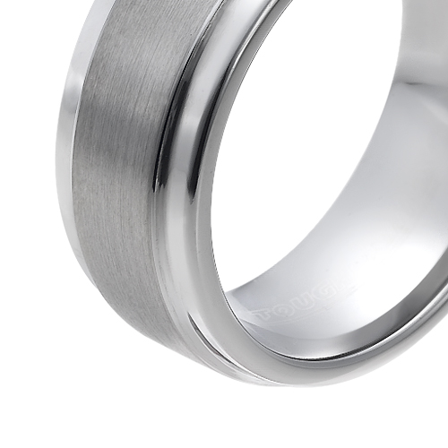 Tungsten wedding bands - brushed centered tungsten ring with polished sides - 9mm