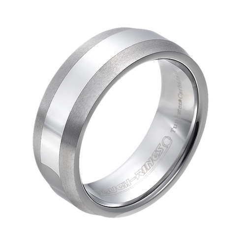 Tungsten wedding bands - polished tungsten ring with brushed beveled edges - 8mm