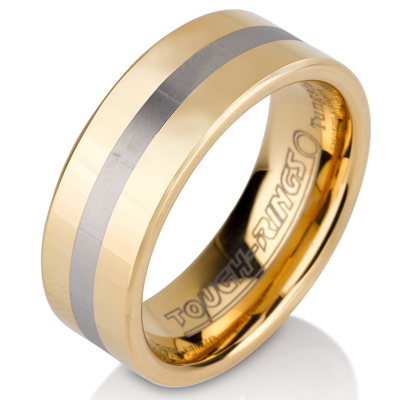 Tungsten wedding bands - polished gold plated tungsten ring with silver center trim - 8mm