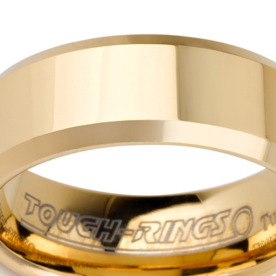 Tungsten wedding bands - polished gold plated tungsten ring with beveled edges - 8mm