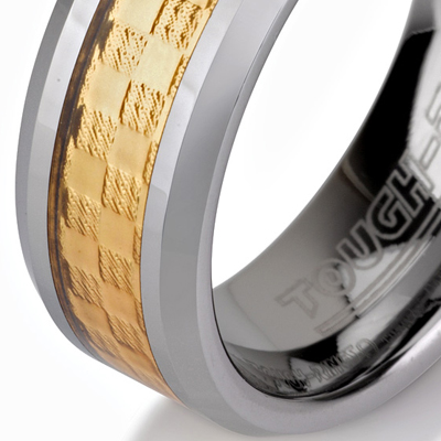 Tungsten wedding bands - polished tungsten ring with gold plated inlay - 8mm.