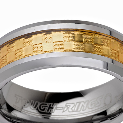 Tungsten wedding bands - polished tungsten ring with gold plated inlay - 8mm